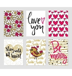 Romantic cards collection vector image