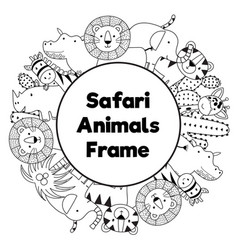 Safari animals black and white circle frame vector