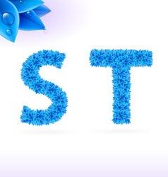 Sans serif font with blue leaf decoration vector image