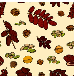 seamless pattern hand sketched nuts vector image