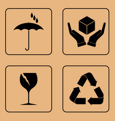 Set of fragile symbols vector