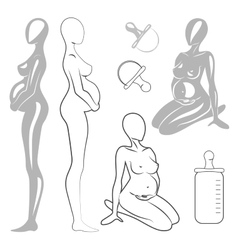 Set pregnant women vector image