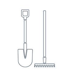 Shovel and rake line icon design vector