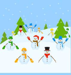 Snowmen group christmas landscape vector