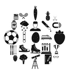 sports health icons set simple style vector image