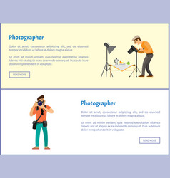 Still life photographer and journalist banners set vector
