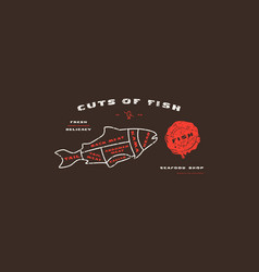stock fish cuts diagram in thin line style vector image