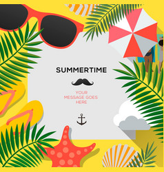 Summer web banner background hello summer holiday vector