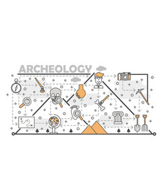 thin line art archaeology poster banner vector image