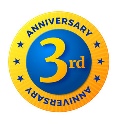 Third anniversary badge gold celebration label vector