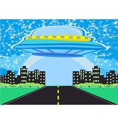 UFO spaceship and big night city vector
