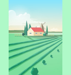 Vertical countryside landscape with agricultural vector