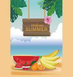 welcome summer card vector image