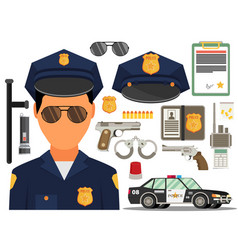 With policeman flat style elements for infographic vector