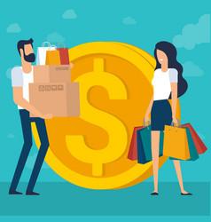 Young man and woman at shopping vector