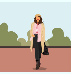 young women or girl dressed in trendy clothes vector image