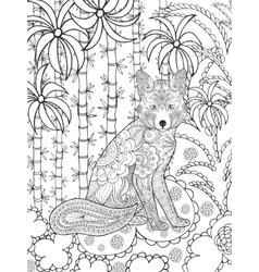Zentangle stylized fox in fantasy garden vector