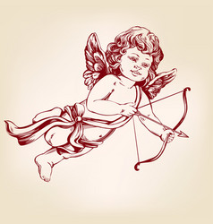 angel little baby cupid shoots a bow with an vector image vector image