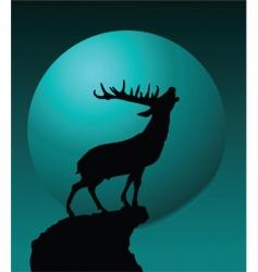 Deer and moon vector