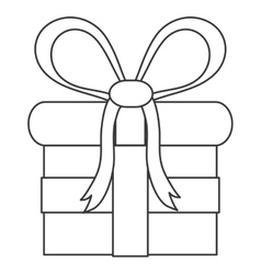 gift with bow line icon vector image