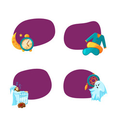 set of stickers with cartoon sleep elements vector image vector image