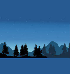 Silhouette of spruce with mountain background vector
