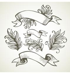 Vintage Ribbon Hand drawn vector image