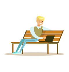 young smiling man sitting on a wooden bench and vector image vector image