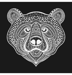 Zentangle stylized White Bear face Hand Drawn vector image