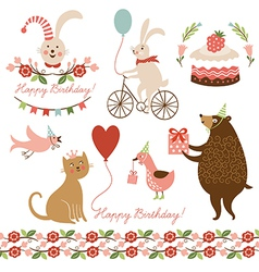 and graphic elements for greeting ca vector image vector image