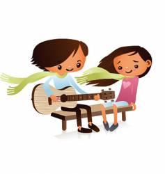 cartoon guitarist vector image vector image
