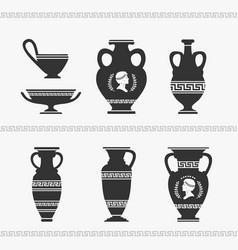 greek vase set vector image vector image