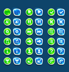 Set with shiny green and blue interface buttons vector