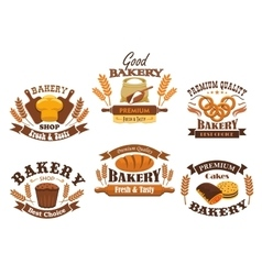 Bakery shop isolated icons set vector image vector image