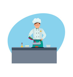 chef in branded clothes in modern hotel vector image
