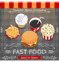Colorful Fast Food Menu Poster vector image vector image