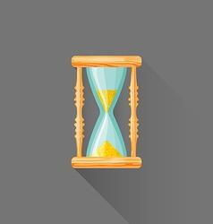 flat style wood sandglass icon vector image vector image