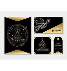 Gold line art set christmas greeting card template vector image vector image