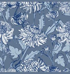 japanese chrysanthemum hand drawn seamless pattern vector image
