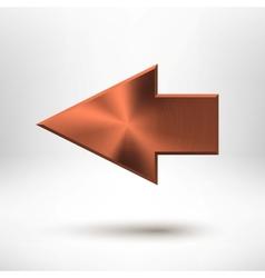 Left Arrow Sign with Bronze Metal Texture vector image