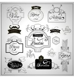 Retro design catchwords elements on whiteboard vector