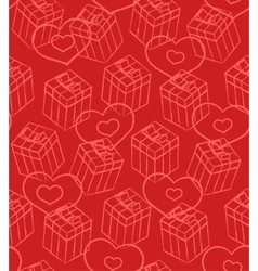 Seamless Valentine pattern with gift boxes and vector image