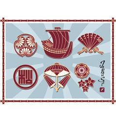 Set of Traditional Japanese Pattern vector image vector image