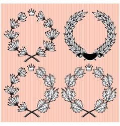 Set of wreath of laurel and oak leaves vector