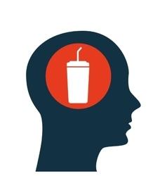 silhouette head concept cinema soda cup vector image