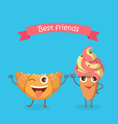 sweets best friends smiling croissant and cake vector image vector image