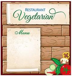vegetarian menu on wood background vector image