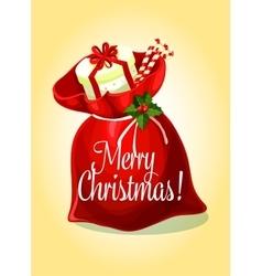 Christmas greeting card with santas gift bag vector image vector image