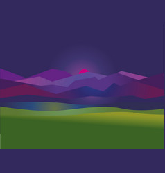 concept simple night mountain sunset landscape vector image vector image