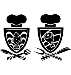 Culinary emblem two variants vector image vector image